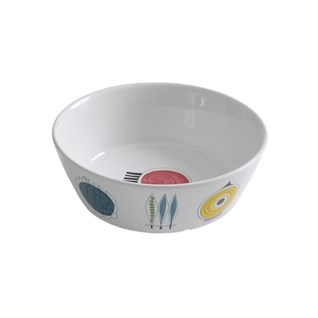 heatproof porcelain bowl in swedish picknick design of colourful abstract food