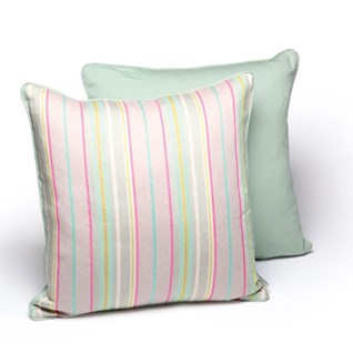southwold stripe silk & cotton woven square cushion in red and green stripes