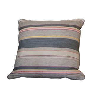 charcoal and red woven stripe square cushion by laura fletcher in silk