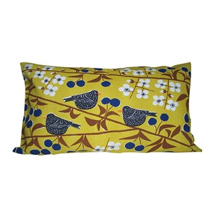 cherry orchard cushion with vivid mustard colour cotton print of blackbirds eating cherries
