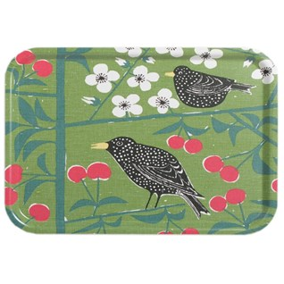 green cherry orchard large tray printed with blackbirds eating cherries in a tree design