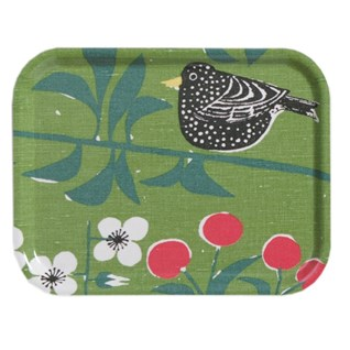 green cherry orchard small tray printed with blackbird eating cherries in a tree design