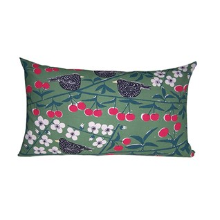 cherry orchard cushion with vivid green cotton print of blackbirds eating cherries