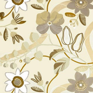 Beige botanic curtain or drapes print by Teija Bruhn of flowers and stems