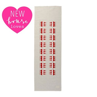 christmas red and white nordic elves table runner for xmas table
