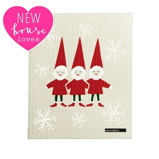 christmas red and white nordic elves sponge cloth for washing up