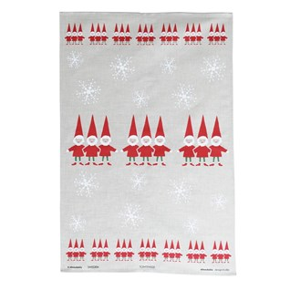 red and white nordic elves xmas tea towel for scandinavian Christmas