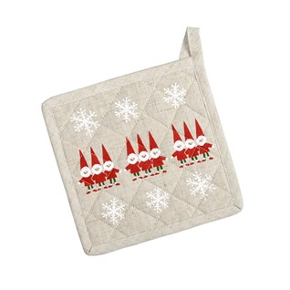 red & white nordic elves scandinavian christmas heat proof pot holder