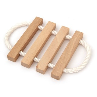 wooden trivet with 4 natural wood lathes with nautical rope cord