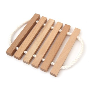 nautical style wooden kitchen trivet for the table with 6 lathes and rope handles