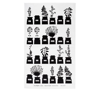 black and white herb garden traditional cotton/linen kitchen tea towel or drying up cloth