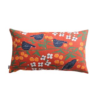 cherry orchard cushion with vivid red colour cotton print of blackbirds eating cherries