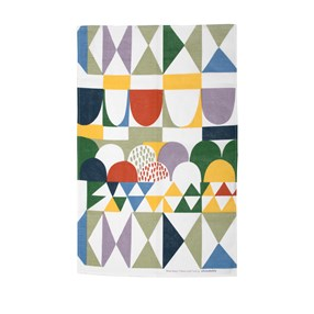 bows geometric abstract printed kitchen cotton/linen tea towel by Josef Frank in multi colours