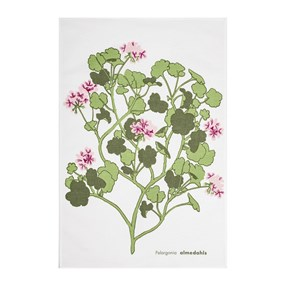 pink & green geranium design kitchen linen tea towel a vintage swedish print