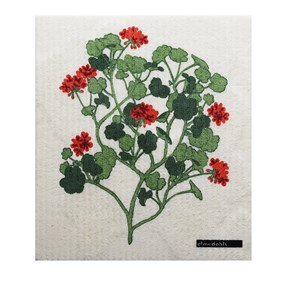 washing up kitchen sponge cloth with Swedish red geranium print design