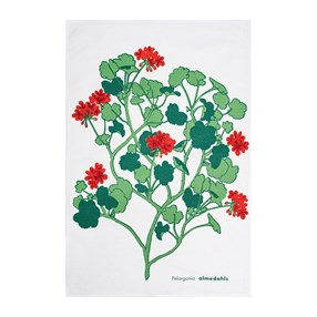 red & green geranium design kitchen linen tea towel a vintage swedish print