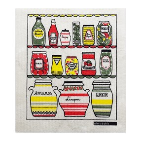 colourful washing up sponge cloth printed in Louise Carling's skafferiet or pantry design