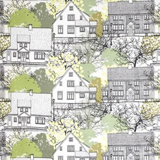 lime green prastliden cotton curtain fabric print of houses by Gunilla Gunnarsson