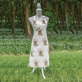 Deer print cooks apron in robust cotton
