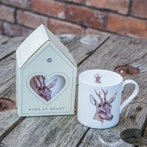 deer china mug with Roebuck head design and stylish gift box