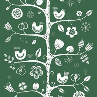 green and white traditional fabric print of tree, birds and flowers printed on cotton for interiors
