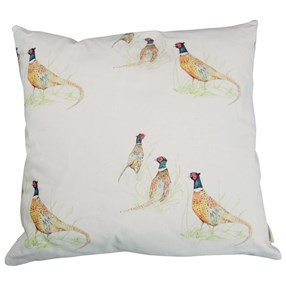Pheasant cushion of birds on lovely cotton fabric for country house look