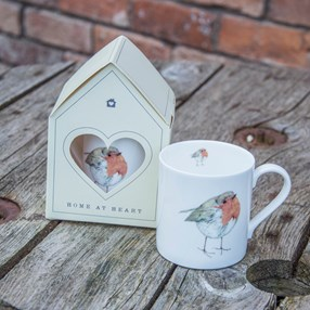 bird mug with cheerful robins with gift box