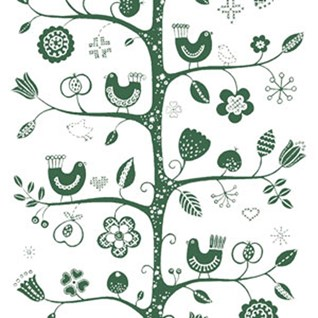 white and green traditional fabric print of tree, birds and flowers printed on cotton for interiors