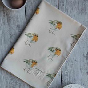 robin kitchen tea towel with lots of red birds