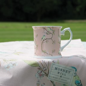 blue tit & blossom china mug in pink dusky rose