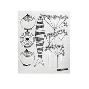 picknick elements black and white sponge cloth
