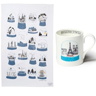 shake it mug and tea towel gift set, by charlotte farmer, snow-shakers of the world, snowglobe gift