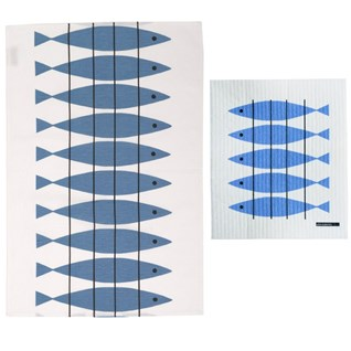 blue & white cotton/linen tea towel and sponge cloth in classic swedish herring fish print