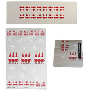 red and white nordic elves christmas table runner, napkin and tea towel gift set