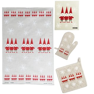 nordic elves kitchen gift set in red and white, scandi christmas