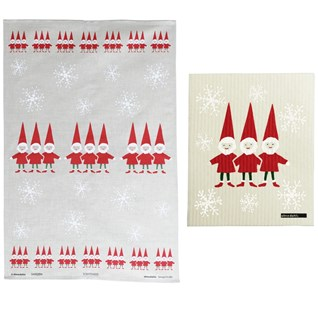 red and white nordic elves xmas tea towel for scandinavian Christmas and washing cloth gift set