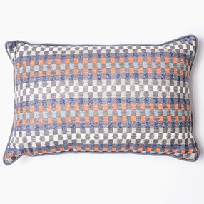 navy & paprika heather check woven cushion by Laura Fletcher