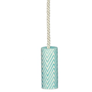herringbone ceramic roller bathroom light pull in portabello blue with cotton cord