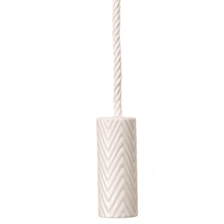 herringbone roller bathroom light pull in white satin china with cotton cord
