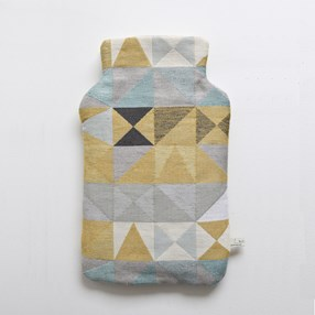 hot water bottle cover in mustard & grey geometric pattern
