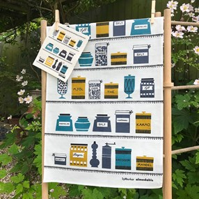 jars kitchen tea towel in retro colours
