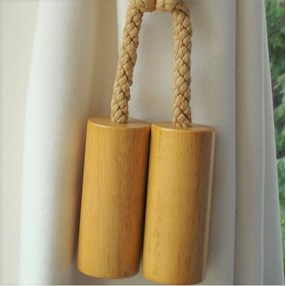 large wood cylinder curtain tieback in richly waxed beech
