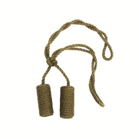 leaf green jute cylinder curtain tieback or hold-back