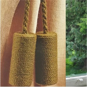leaf green colour jute cylinder curtain tieback