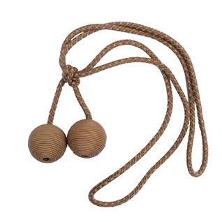 small leather ball tieback - camel