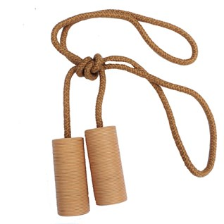 large camel colour leather cylinder curtain tieback or holdback
