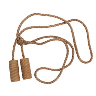 camel leather cylinder curtain tieback or hold-back