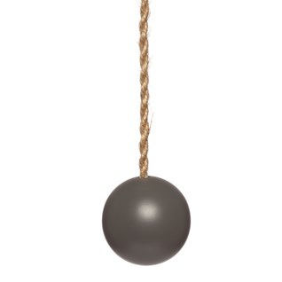 graphite grey wood ball window roller blind pull or acorn with jute cord