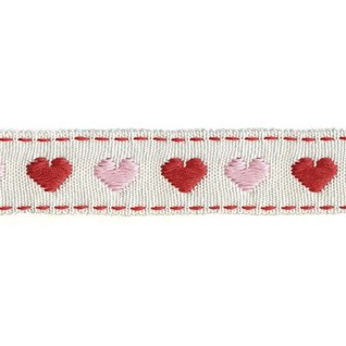 pink & red love heart decorative trimming interior braid bordered by red stitching