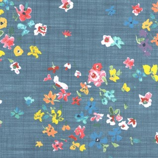 inky blue, red & yellow vibrant colourful floral window blind fabric print called Margo